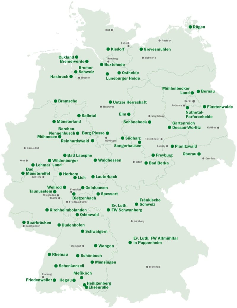 Friedwald Standorte Ruhedirekt
